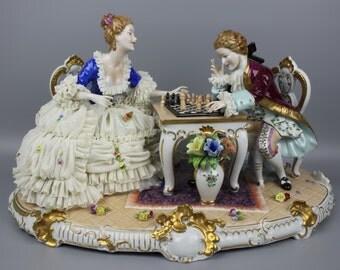 Unterweissbach Figurine Couple Playing Chess