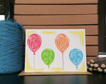Card Balloons - A6 Greeting Card with Envelope - Blank Card - Birthday Card - Congratulations Card - Card Recycled Paper.