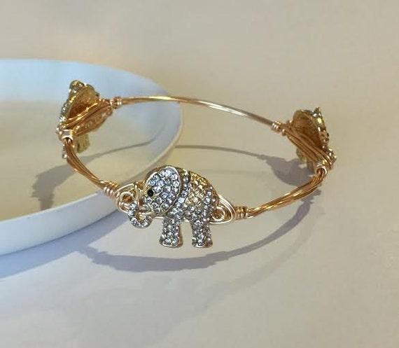 January SALE, Elephant Bangle Bracelet, Wire wrapped bangle, rhinestone bangle bracelet, wire wrapped bracelet