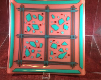 """Square fused glass plate - Opaque salmon/teal fused glass. 7 1/4"""" square. Free shipping. (335)"""