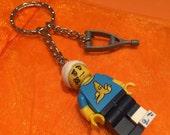 Lego Clumsy Guy minifigure with crutch keychain  keyring! Get Well Soon!