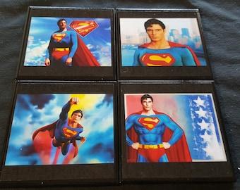 Superman Ceramic Tile Drink Coasters / Superman Drink Coaster Set