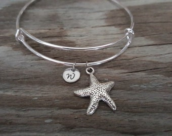 Starfish Bangle Bracelet - Animal Lover Gift- Beach Gift - Sea Gift - Ocean Gift - Aquatic Gift - Invertebrate - Sea Star - Initial