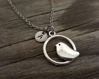 Bird Necklace - Bird Lover Necklace - Simple Bird Necklace - Aviary Necklace - Aviarist Gift - Bird Watcher Gift - Initial/Bead/Heart