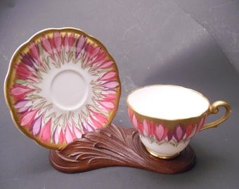 Vintage Hand Painted Royal Standard Cup & Saucer Bone China Very Rare Pink and Purple Crocus with Gold accents Made in England