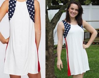 American Flag Tunic Dress Flag Tunic Patriotic Tunic