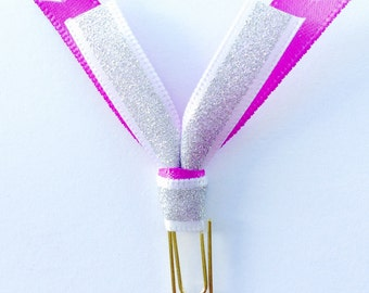 Planner Paper Clips : Silver and Purple Glitter Ribbon Planner Paperclips