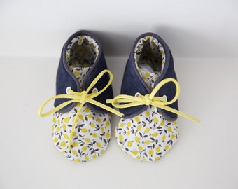 Small booties 3-6 months baby leather soft and liberty lemon 'Louison'