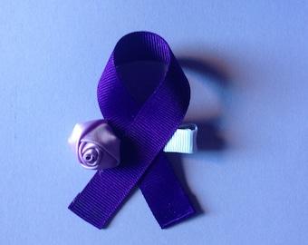 purple ribbon hair clip - pancreatic cancer awareness
