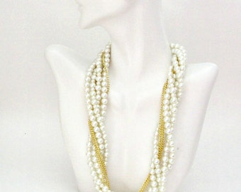 Pearl Necklace, Wedding Necklace, Bridesmaid Jewelry Set, Cream Pearl with Gold Chain , Twisted Multi Strand Necklace