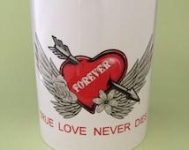 True Love Never Dies, Skulls and Tattoo Style Winged Heart Ceramic Mug