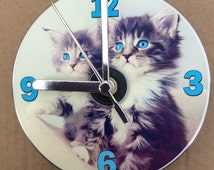 Cute, Fluffy, Blue Eyed Kittens CD Clock (Can be Personalised)