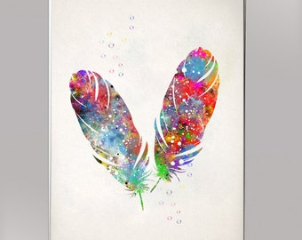 Feather, Watercolor Print  Print Children's Wall Art Home Decor Wall Hanging