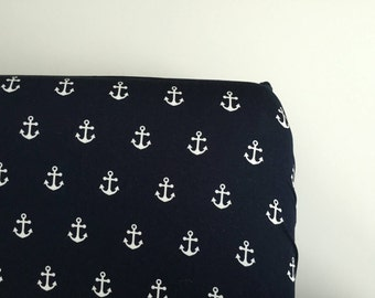 Navy and white anchor fitted sheet