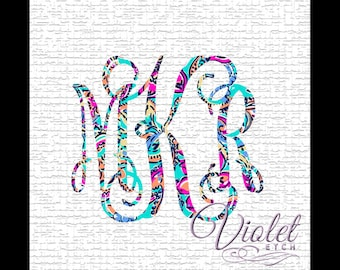 Vine Monogram Decal-Vine Monogram-Lilly Monogram Decal-Monogram Decal-Yeti Decal-Tumbler Decal-Window Decal-Laptop Decal