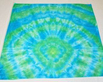 Tie Dye Bandana - 100% Cotton - Cyan & Green