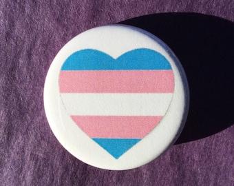 Transgender flag button // trans pride pin