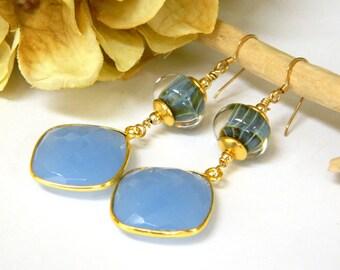 Long Dangle Earrings, Blue Earrings for Women, Gemstone Earrings, Gold Earrings, Glass Earrings, Handcrafted Jewelry, Boho Earrings