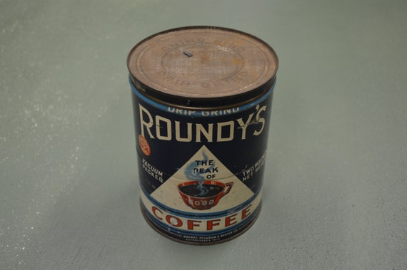 vintage roundys coffee can