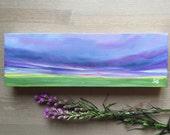 4x12 inch original landscape oil painting, purple