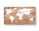 Travel Theme Wedding- World Map- Wedding Guest Book Alternative- Personalized Signs- Travel Map Push Pin- 5th Anniversary Gift for Her