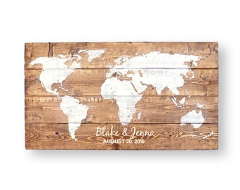 Travel Theme Wedding- World Map- Wedding Guest Book Alternative- Wedding Welcome Sign In- Wood Wedding Guest Book- Wedding Decor