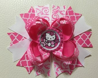 Hello Kitty Hair Bow, Pink Hello Kitty Boutique Hair Bow , Hello Kitty Stacked Hair Bows , Girls Hello Kitty Hair Bow, Hello Kitty Hair Clip