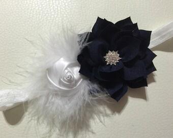 Navy and White Vintage Baby Headband ,Baby Headband , Girls Headband ,Vintage Baby Headband, Princess Headband , Infant Headband