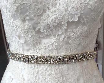 Lola  vintage inspired crystal bridal sash