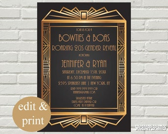 Gender Reveal Roaring 20s Bowties & Boas Party Invitation,  INSTANT DOWNLOAD-Edit with Acrobrat Reader, Do-It-Yourself