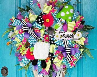 Gnome Wreath, Gnome Decor, Garden Gnome, Summer Deco Mesh Wreath, Summer Wreath, Gnome Sweet Gnome, Gnome Figurine, Everyday Wreath