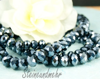 20 x 8 x 6 Hematite faceted glass beads black art. 2256