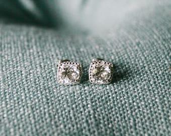 White Sapphire Earrings, Gemstone Birthstone Earrings