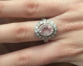 Made to Order, Rose Quartz Ring, Pink Ring, Natural Rose Quartz, Vintage Ring, Sterling Silver Ring