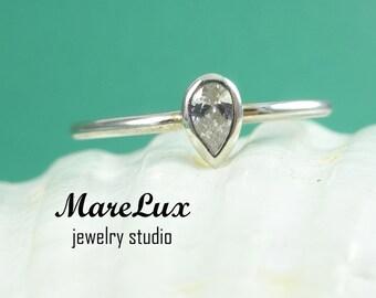 CZ Stacking Silver Ring Pear Cut Gemstone, Zirconia Ring  Sterling  Cubic Zirconia Ring  Tiny ring  Small Ring