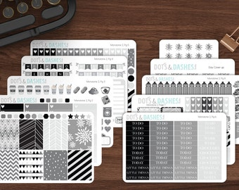 M2- Monotone monthly kit, grey sticker kit, black, gray, white, neutral sticker kit, full month kit, month planner stickers