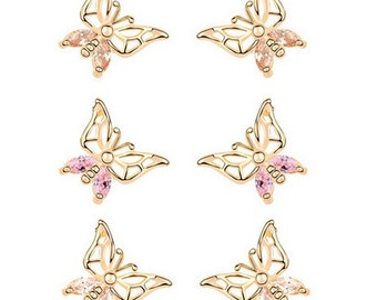 Cute Champagne Gold Plated Butterfly Earrings With Cubic Zirconia's