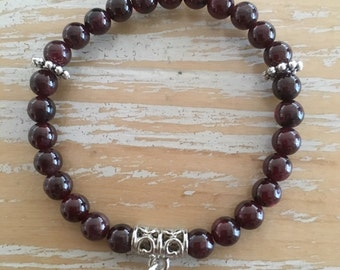 Garnet 6mm gemstone bracelet, made to order, Reiki infused