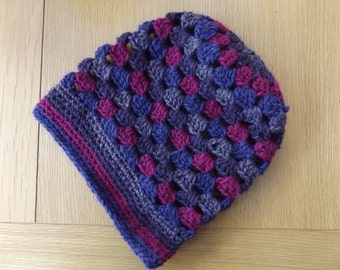 Slouchy Crochet Hat Purples and Pinks Design premium wool