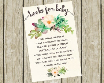 Books for Baby, Book Request, Baby Shower Book Request 4x6, Instant Download