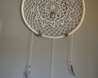 Giant White and Blue Crocheted Dream Catcher