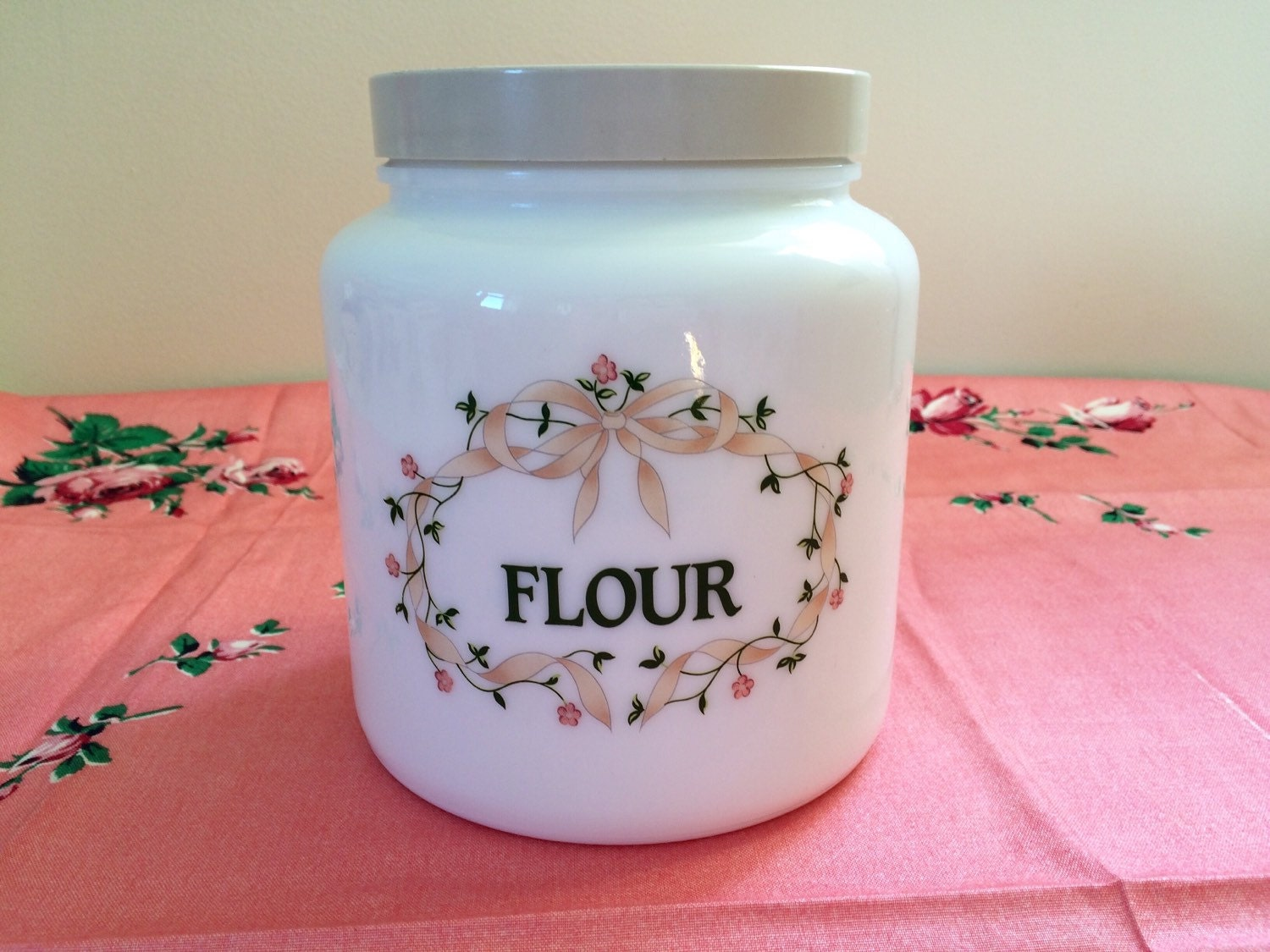 Vintage Milk Glass Flour Canister Jar By Candlelight Johnson