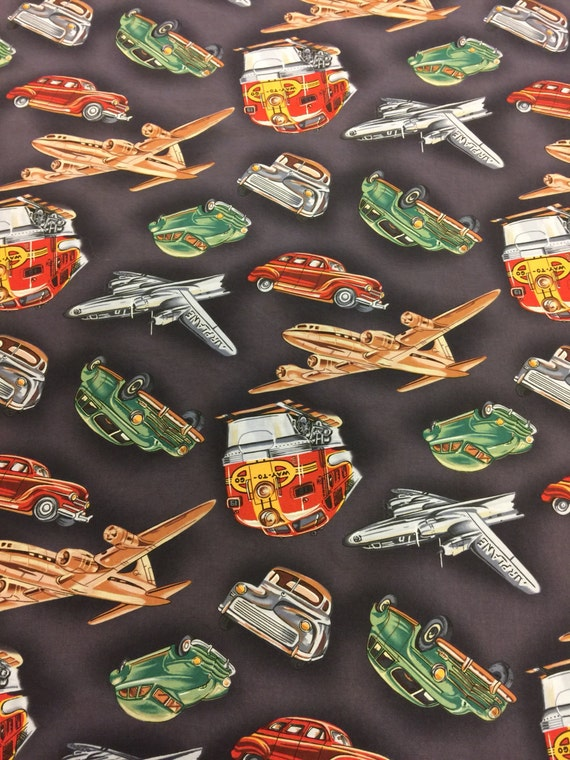 Michael miller fabric fq plane fabric train fabric for Train themed fabric