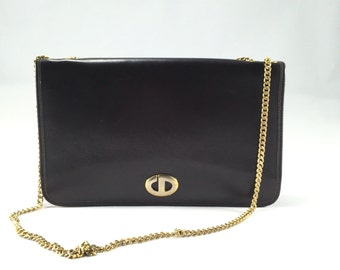 Vintage Christian Dior Brown Leather Handbag