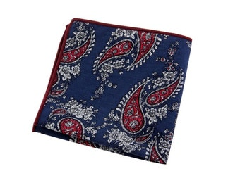 Blue floral pocket square handkerchief | Flower | Groom | Men | Wedding | Handkerchief | Fall | Ideas | gifts |  for him