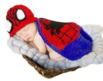 Handmade Spiderman newborn photo prop