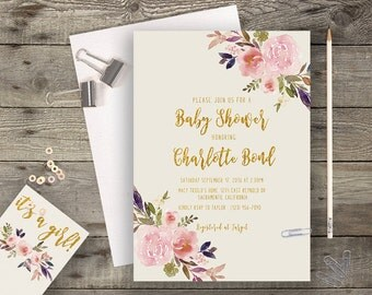 Floral Baby Shower Printable Boho Chic Baby Shower Invitation Bohemian Baby Shower Invite Gold Typography Spring / Summer Wedding