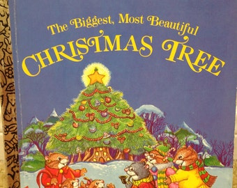 vintage Little Golden Book The Biggest, Most Beautiful Christmas Tree by Amye Rosenberg, 1985 edition, 459-08