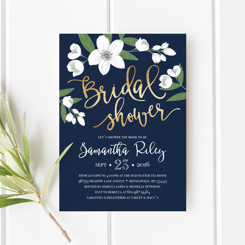 Printable bridal shower invitation template wedding for Flower bridal shower invitations