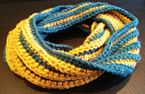 Chunky ribbed crochet infinity scarf in teal and mustard yellow stripes